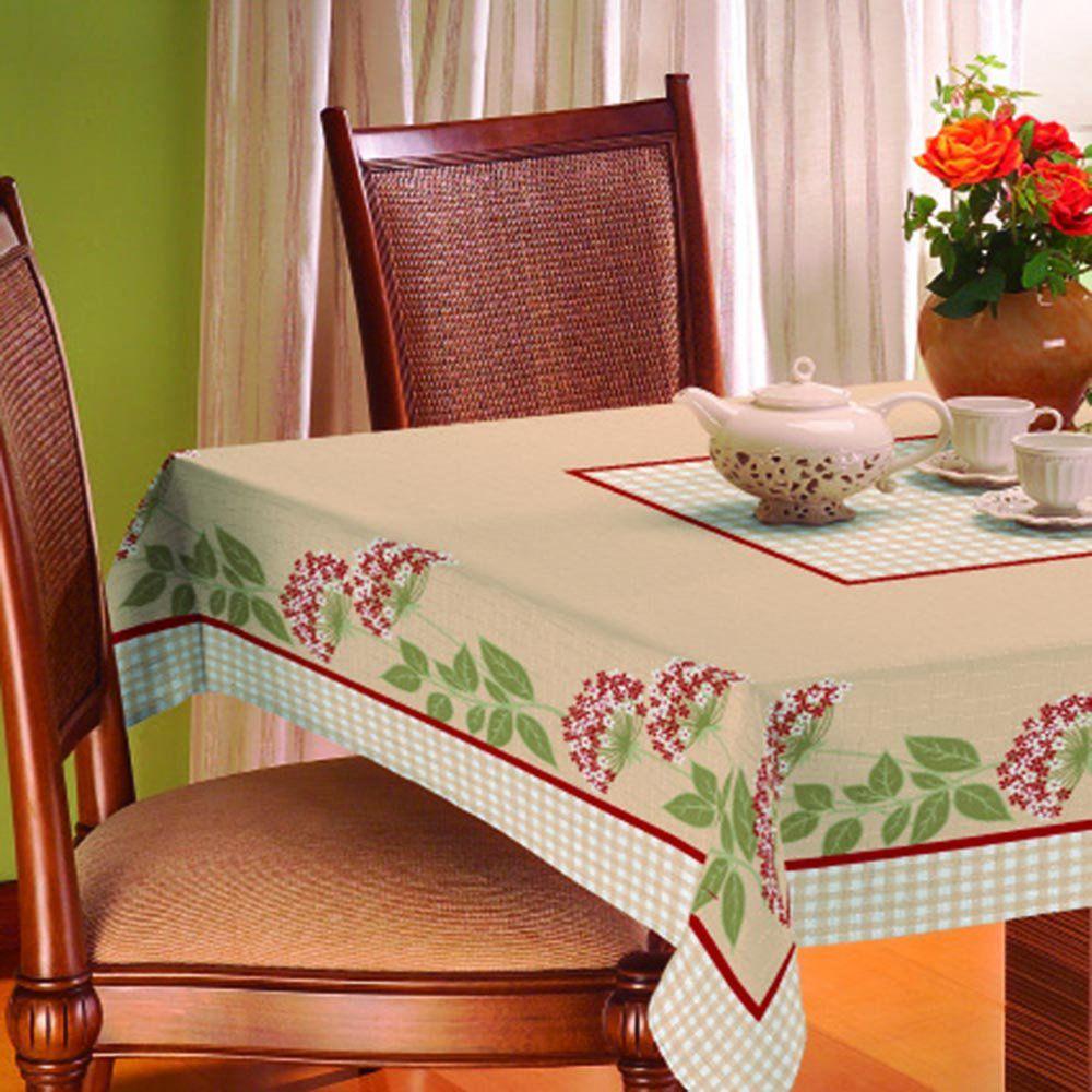 Toalha De Mesa Gourmet Rústica 1,40m x 1,40m Floral - Raner