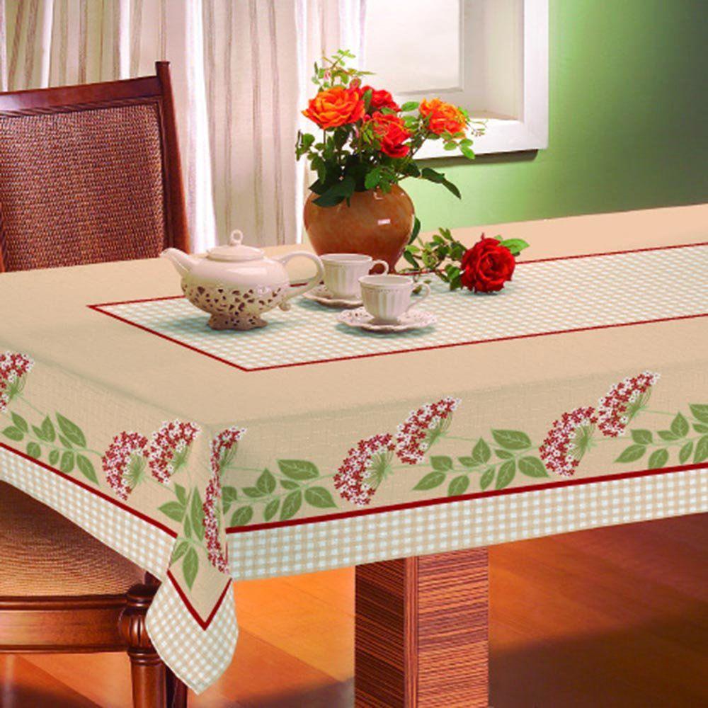 Toalha De Mesa Gourmet Rústica 1,40m x 2,10m Floral - Raner