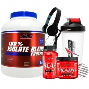 Kit Whey Protein 100% Isolate Blend 2kg - Giants Nutrition + Creatina Hardcore 150g + Amino BCAA 2:1:1 90 Cápsulas + Coqueteleira + Fone - IntegralMedica