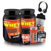 Kit Massa Muscular New Millen - 2x Protein Whey Premium 900g + BCAA 120 Cápsulas + Creatina Monohidratada 150g + Carb Up + Coqueteleira + Fone de Ouvido