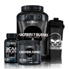Kit Whey Protein 7 + BCAA 2400 30 Tabletes + Creatine 150g + Coqueteleira - Black Skull
