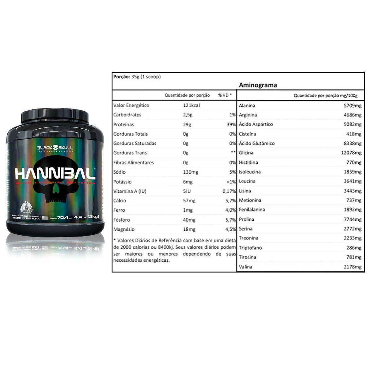 Beef Protein Hannibal Isolado e Hidrolisado 2kg - Black Skull