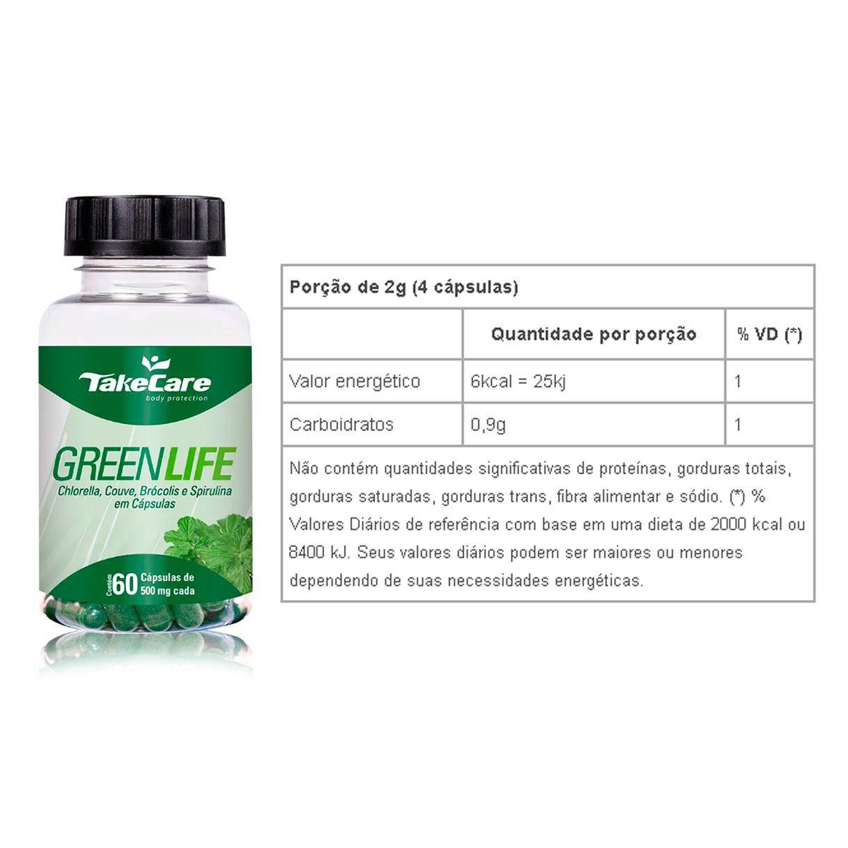 Combo 3x Green Life (Chlorella, Couve, Brocolis e Spirulina) 60 Caps + Porta Cápsulas - Take Care