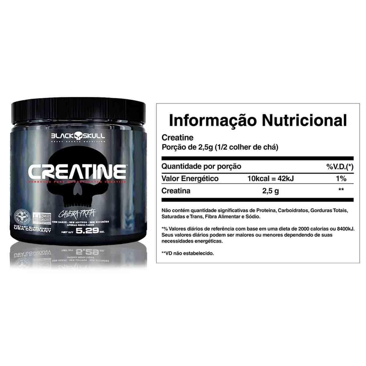 Kit Ganho De Massa - Protein 7 837g + Bcaa 2400 + Creatina + Coq - Black Skull