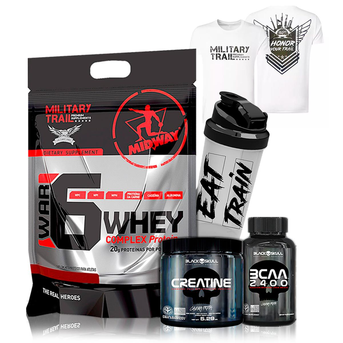 Kit Whey 900g + Bcaa + Creatina + Shaker - Midway Labs