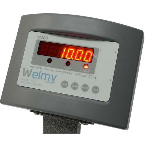 Balança Plataforma Welmy W300 300Kg 50x60cm c/ Bateria Serial INMETRO  - RW Automação