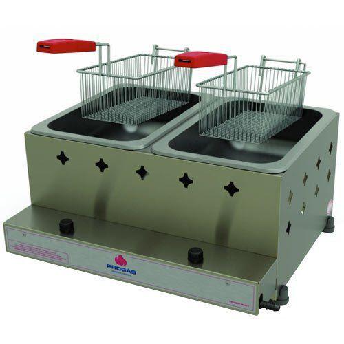 Fritadeira a Gás 2 Cubas Alta Pressão Inox 10L Progás PR-20G  - RW Automação