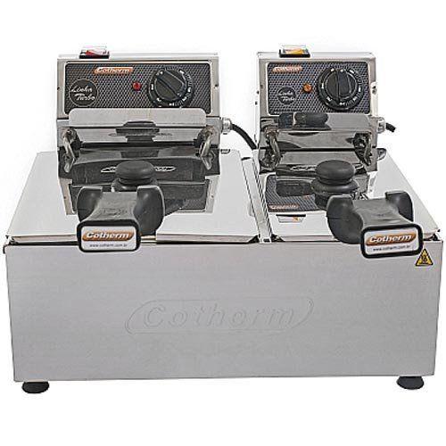 Fritadeira Elétrica 2 Cubas Inox 3L e 5L Cotherm Turbo 220V  - RW Automação