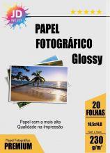 Papel Fotográfico Glossy - 230g -  Pct Com 20 Folhas - 10,05x14,08cm (10x15)