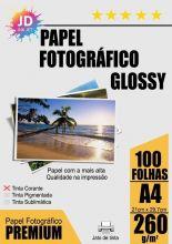 Papel Fotográfico Glossy 260g/m² A4 pct com 100 folhas