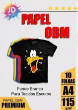 Papel OBM Fundo Branco Para Tecidos Escuros 10 folhas A4
