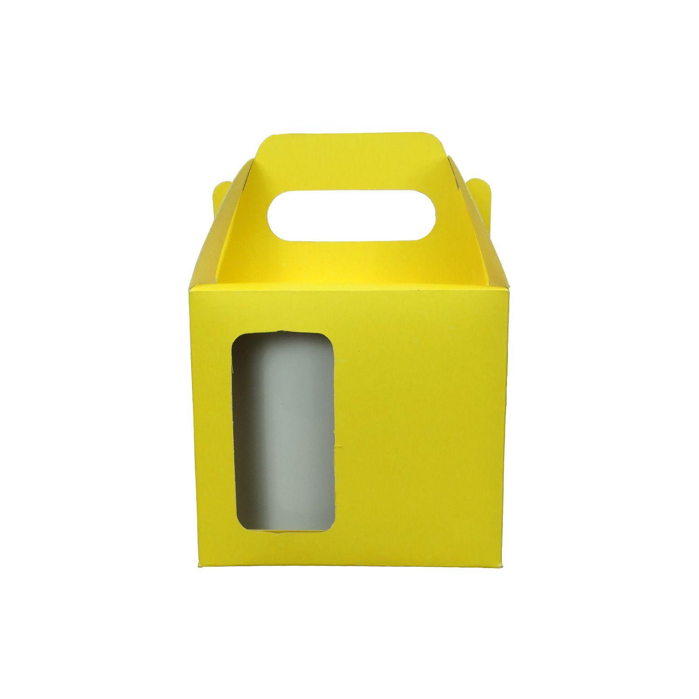 Caixa de Caneca - Com Janela - Amarelo Ouro - Pacote Com 12 Und