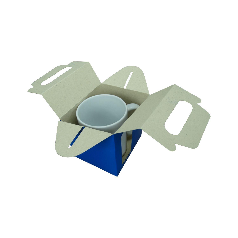 Caixa de Caneca - Com Janela - Azul - Pacote Com 12 Und