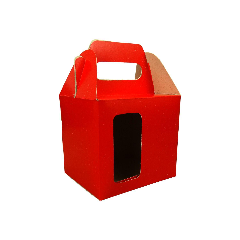 Caixa de Caneca - Com Janela - Vermelha - Pacote Com 12 Und