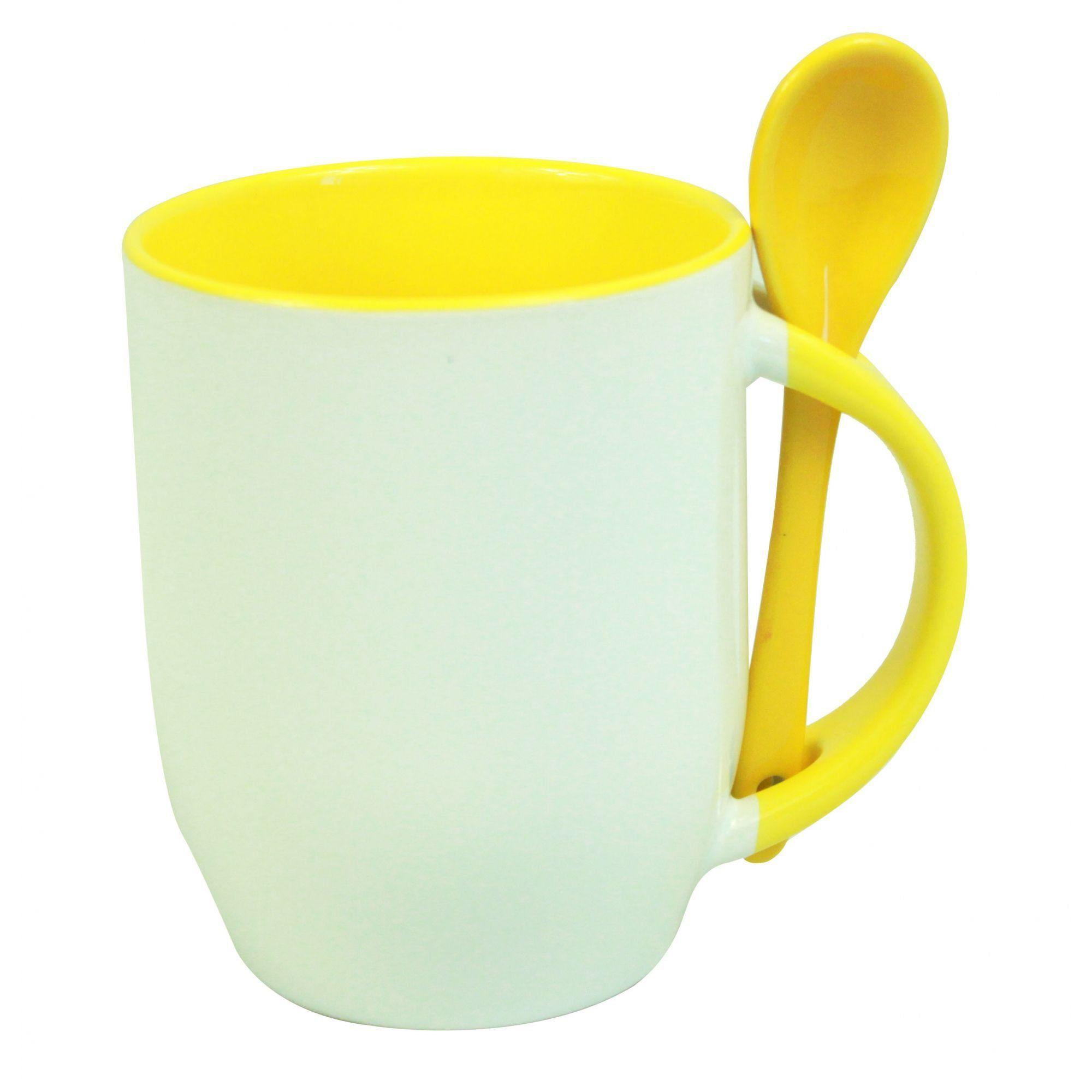 Caneca Para Sublimação Com Colher Amarela