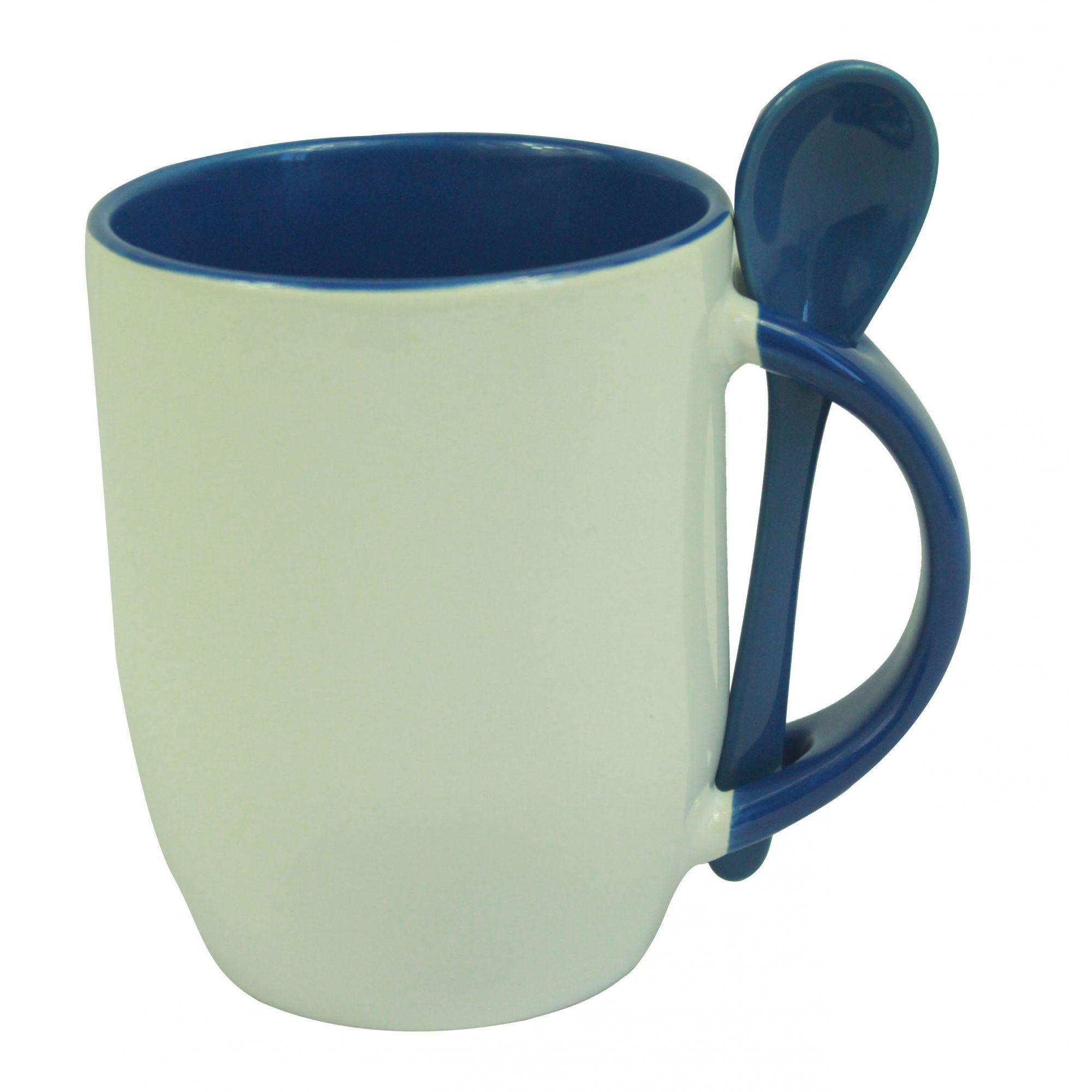 Caneca Para Sublimação Com Colher Azul