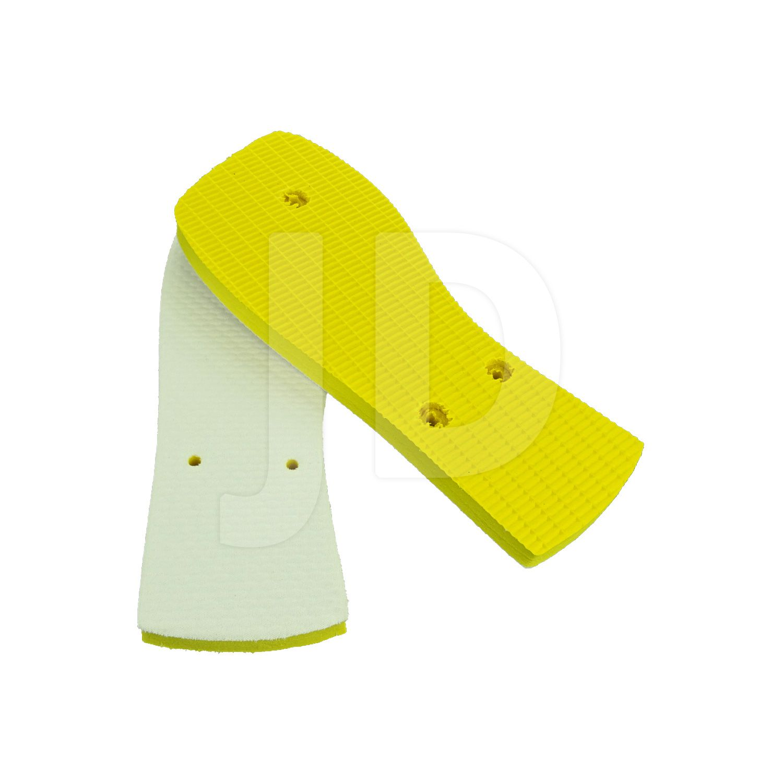 Chinelo Com Tecido P/ Sublimação - Feminino - Adulto - Quadrado - Amarelo