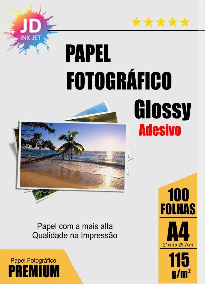 Papel Fotográfico Adesivo Glossy 115g/m² A4 pct com 100 folhas A4