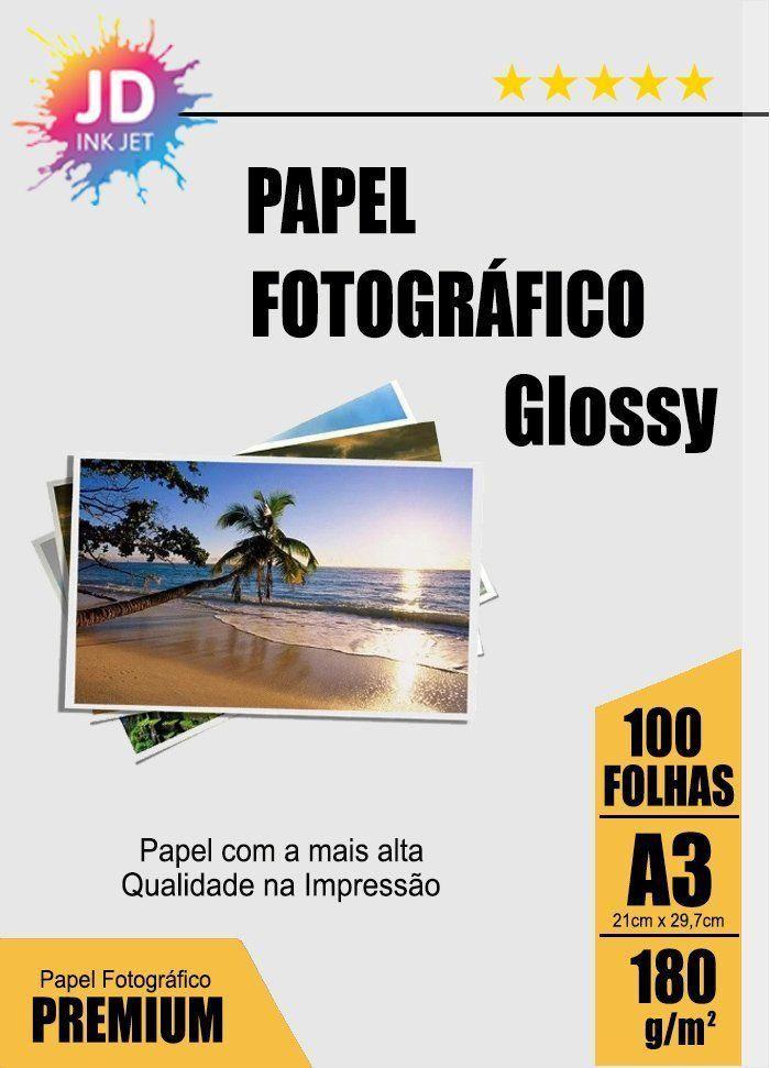 Papel Fotográfico Glossy 180g/m² A3 pct com 100 folhas
