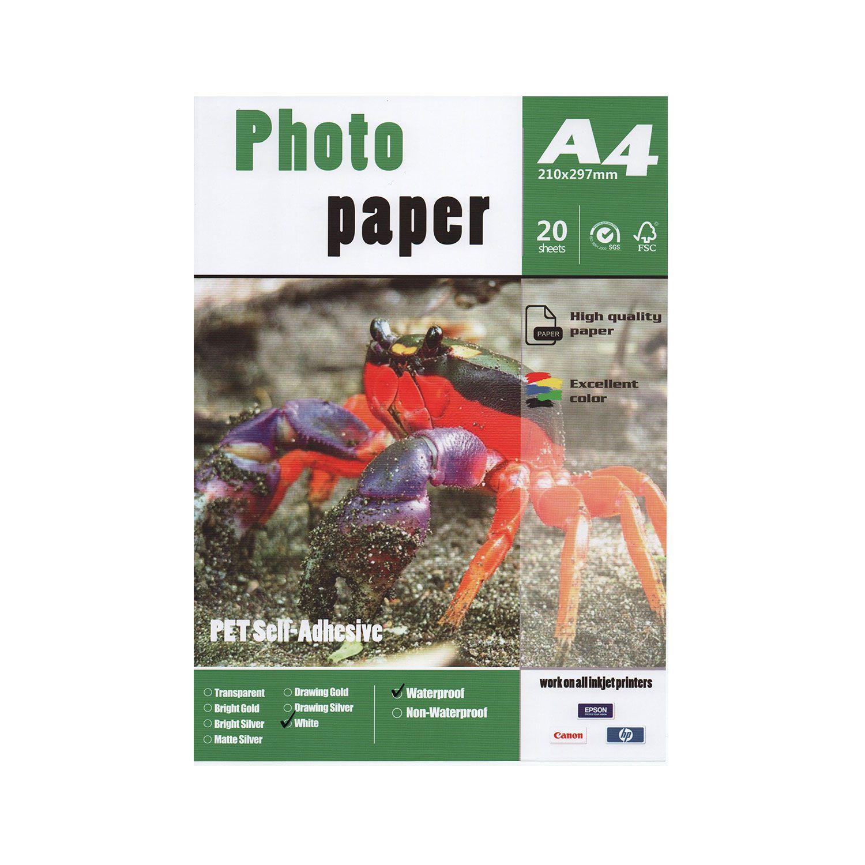 Papel Fotográfico PET Adesivo - White - Pct 20 Folhas