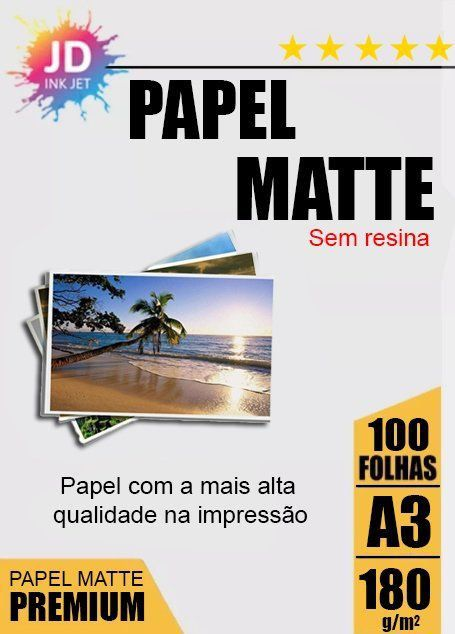Papel Fotográfico Fosco / Matte 180 g/m2 100 Folhas A3