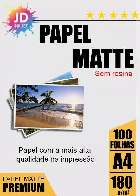 Papel Fotográfico Fosco / Matte 180 g/m2 100 Folhas A4