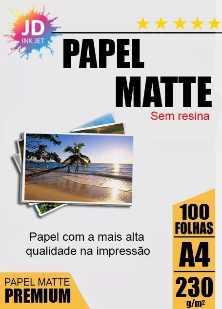 Papel Fotográfico Fosco / Matte 230 g/m2 100 Folhas A4