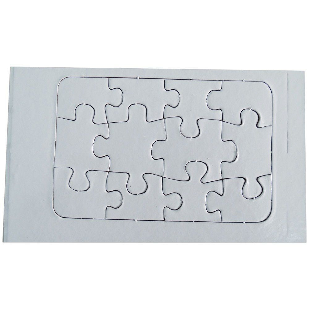 Quebra cabeça 12  peças para sublimação pacote com 5un A6 - 14cm x 9cm