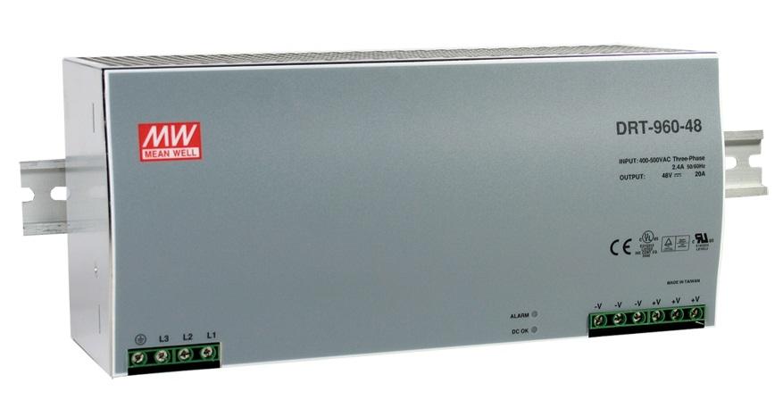 DRT-960 - Fonte de Alimentação Chaveada Trifásica 960Watts, Trilho DIN