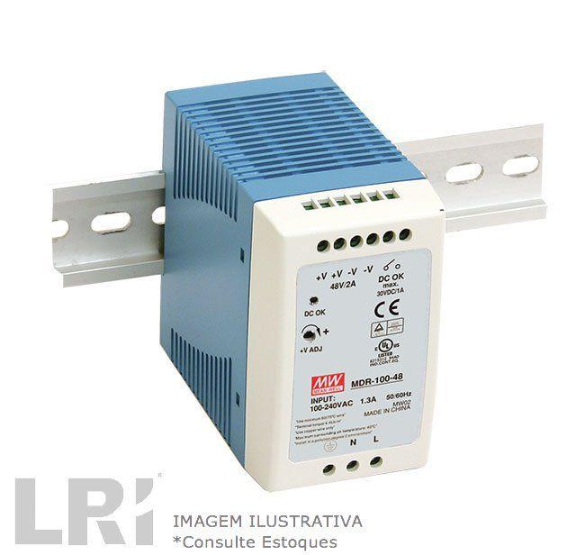 MDR-100 - Fonte de Alimentação Chaveada 100Watts, Função PFC, Trilho DIN