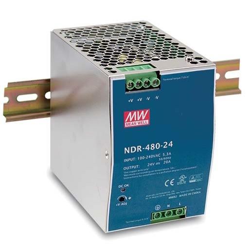 NDR-480 -  Fonte de Alimentação Chaveada 480Watts, Função PFC, Trilho DIN