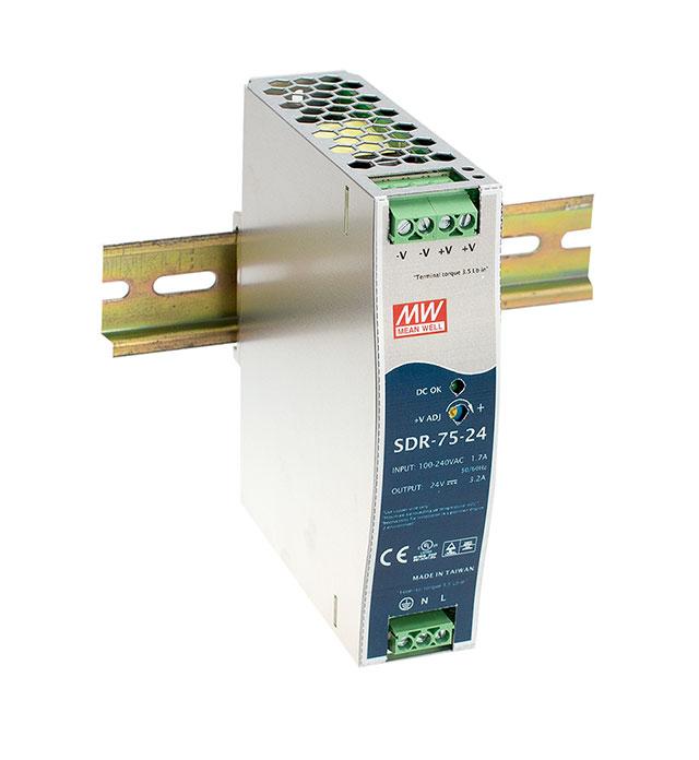 SDR-75 - Fonte de Alimentação Chaveada 75Watts, Função PFC, Trilho DIN