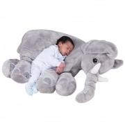 Almofada Elefante de Pelúcia Soft Grande Cinza