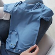 Body Manga Curta Prematuro Malha Liso Azul Bebê