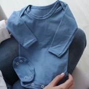 Body Manga Longa Bebê Malha Liso Azul Bebê