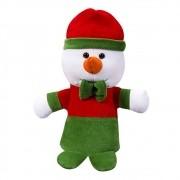 Boneco da Neve Natal Plush Pequeno Vermelho Verde Laço