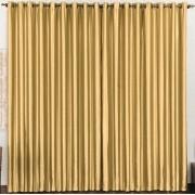 Cortina Cetim Amassado Ouro 2,80 x 1,70 para Varão Simples 2,00 Metros