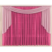 Cortina Malha Pink com Bandô Rosa 3,00 x 1,70 para Varão Duplo 2,00 Metros