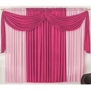 Cortina Malha Pink e Rosa com Bandô Pink 3,00 x 1,70 para Varão Simples 2,00 Metros