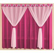Cortina Malha Pink e Rosa 3,00 x 1,70 para Varão Simples 2,00 Metros