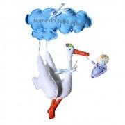 Enfeite de Porta Feltro Azul Cegonha Bebê Nuvem Personalizado com Nome