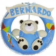 Enfeite de Porta Feltro Azul Urso Pipa Balão Personalizado com Nome