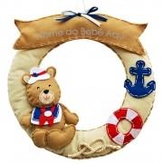 Enfeite de Porta Feltro Bege Urso Marinheiro Âncora Bóia Personalizado com Nome
