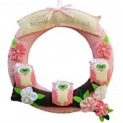 Enfeite de Porta Feltro Rosa Corujas Flor Personalizado com Nome