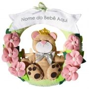 Enfeite de Porta Feltro Rosa e Verde Ursa Princesa Flores Personalizado com Nome