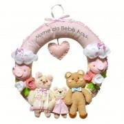 Enfeite de Porta Feltro Rosa Família Ursos Passarinhos Personalizado com Nome