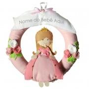 Enfeite de Porta Feltro Rosa Menina Princesa Flor Personalizado com Nome