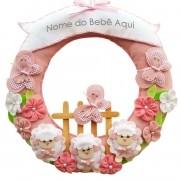 Enfeite de Porta Feltro Rosa Ovelhas Borboletas Flores Personalizado com Nome