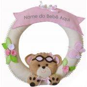 Enfeite de Porta Feltro Rosa Ursa Aviadora Borboleta Flor Personalizado com Nome