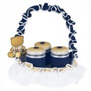Jogo de Potes 3 Peças com Cesta Pequena Urso Coleção Todd Marinho